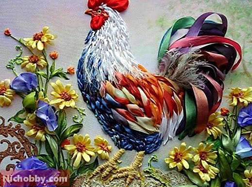 Rooster, embroidery ribbons.  Embroidery kit