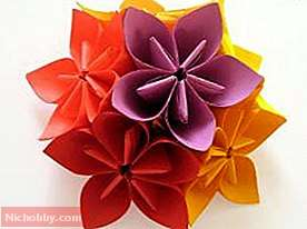 Paper origami: schemes for beginners.  Origami: color schemes.  Origami for beginners: flower